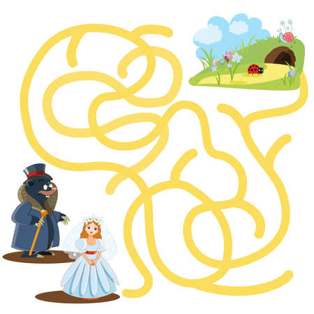 Educational game for children. Cartoon vector illustration. Maze.