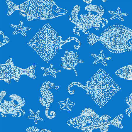 Coloring antistress for adults and children. Funny sea fish and animals. Crab, sea fox, seahorse, perch, tuna. Seamless vector pattern