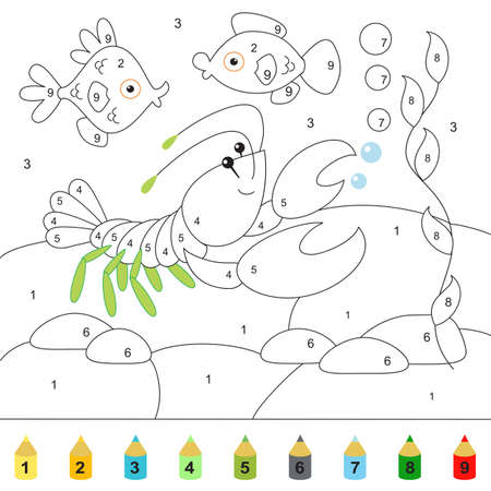 Crayfish, fish, pebbles, bottom, underwater world. Coloring book for children, point to point mini-game