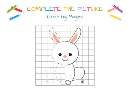 Funny little hare. Copy the picture. Coloring book. Educational game for children. Cartoon vector illustration