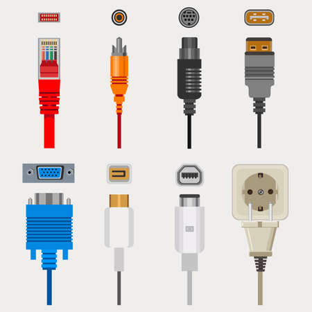 Connection cables and connectors, wiring and audio or video adapters, plugs isolated icons vector. network port, HDMI and DVI or RCA.