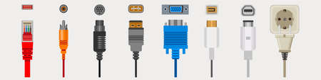 Connection cables and connectors, wiring and audio or video adapters, plugs isolated icons vector. HDMI and DVI or RCA.