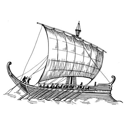 Hand drawn sketch of an ancient greek galley. Illustration to the legend of the Golden Fleece. Ancient sailing ship.