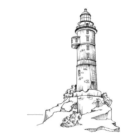 An old lighthouse. Hand drawn sketch tower on the seashore. Beautiful element for design in a marine style.