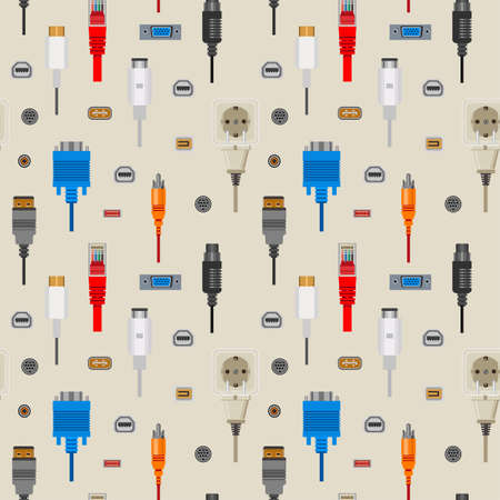 Connection cables and connectors, wiring and audio or video adapters, vector seamless pattern. network port, HDMI and DVI or RCA.