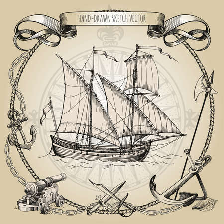 Adventure stories. Pirate background. Vintage border frame. Old caravel, vintage sailboat. Cannon, ghost ship, shipwreck sea battle