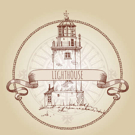 Lighthouse. Image of old lighthouses in a round rope frame. Hand-drawn vector sketch.