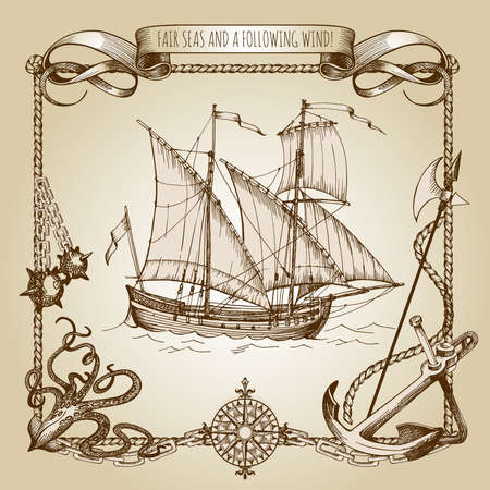Adventure stories. Pirate background. Vintage border frame. Octopus, daggers anchor anchor chains