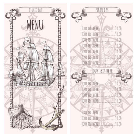 Adventure stories. Pirate background. Vintage border frame. Menu