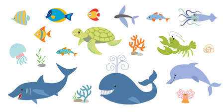 Collection of marine animals. Fish, mammals, molluscs and corals. Underwater world Illusztráció