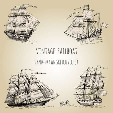 Old caravel, vintage sailboat. Hand drawn sketch. Detail of the old geographical maps of sea Vetores