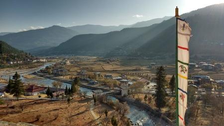 birds eye view: Birds eye view of Paro Valley