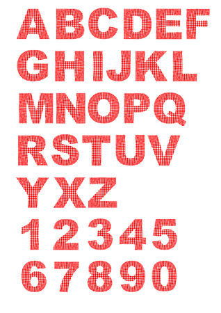 Decorative alphabet with letters composed of red dots - uppercase letters and digits Vector