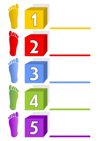 Presentation template - five steps, options, ways with footprints Vector