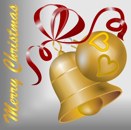 Christmas motif with gold bell, gold christmas ball and red ribbon on the silver background Vector