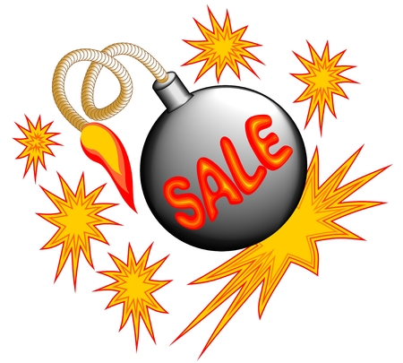 bomb price: Sale emblem with bomb and stars for using in shop Illustration