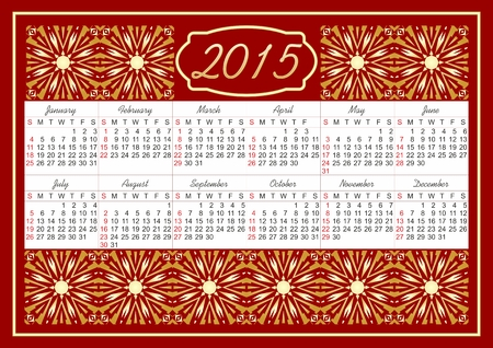 Luxury calendar 2015 with fine vintage golden patterns on red area Vector