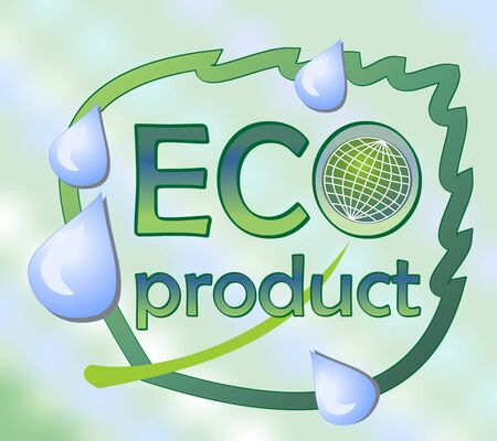 Eco product label with a leaf and globe on the gradient background