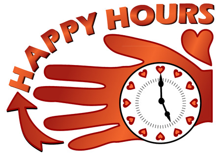 happy hours: Happy hours billboard with a clock on the palm in coposition with a heart Illustration