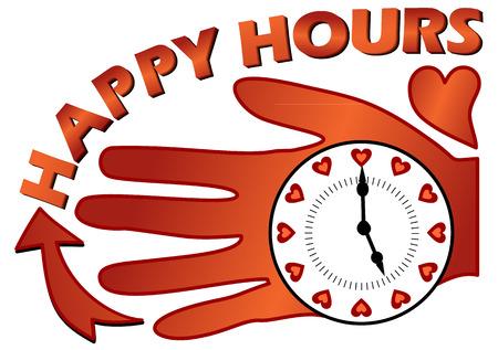 happy hours: Happy hours panneau d'affichage avec une horloge sur la paume dans coposition avec un coeur Illustration