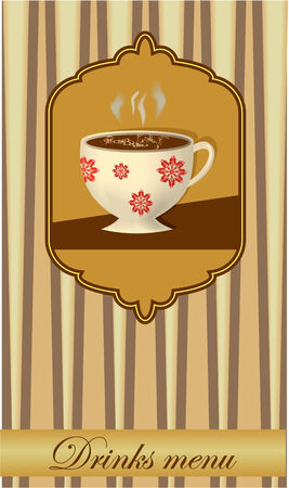 slop: Drink card design with a glass in old style