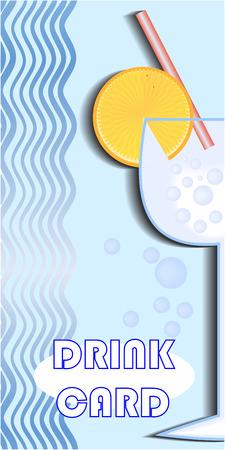 slop: Blue drink card design with a glass Illustration