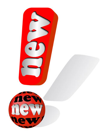 eye catcher: Red exclamation mark as symbol for new goods, products or ideas Illustration