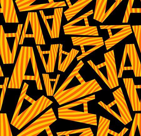 contrasting: Black contrasting seamless background with distinctive orange letters Illustration