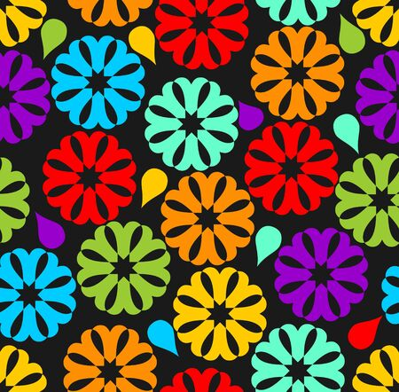 Black seamless background with colorful rainbow flowers Vector