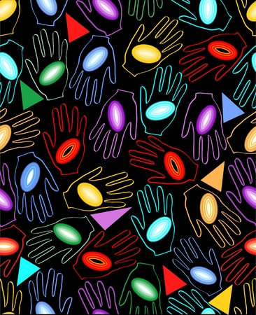 contrasting: Grunge seamless dark background with rainbow circles on the palm Illustration