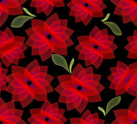 Seamless background with fine outline flowers Vector
