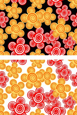 Seamless background with red and yellow flowers in two color variants Vector