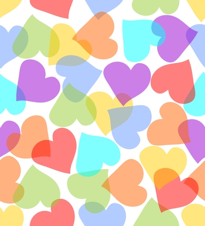 Seamless background with hearts overlapping pattern in pastel colors Vector