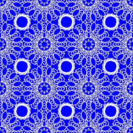 folklore: Blue seamless background fine decorated in folklore style with white patterns