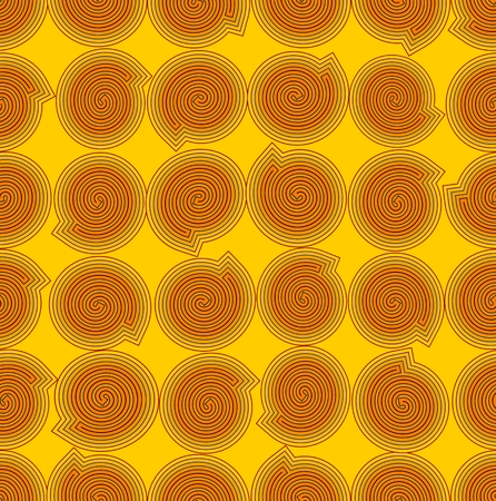 Yellow seamless abstract background with orange snails Vector