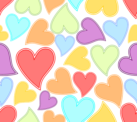 Seamless background with colorful heart in soft pastel colors Vector