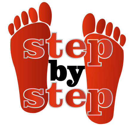 Label step by step with human traces in red design Vector