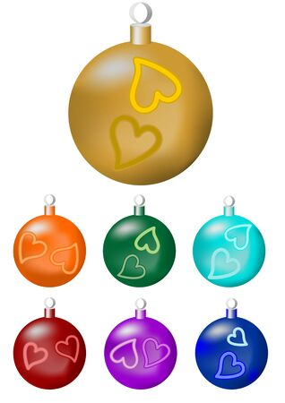 a set of christmas balls in seven color variants gold orange green