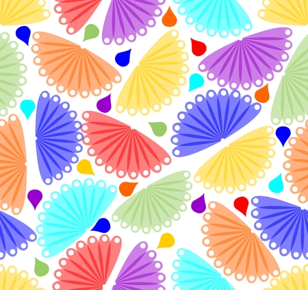 Cheerful colorful background with fan motif and drops Vector