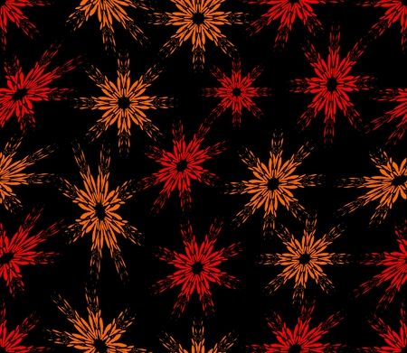 sprayed: Seamless abstract background with red sprayed flowers on the black area