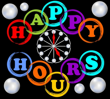 happy hours: Happy hours panneau d'affichage en couleurs de l'arc avec un cadran de l'horloge Illustration