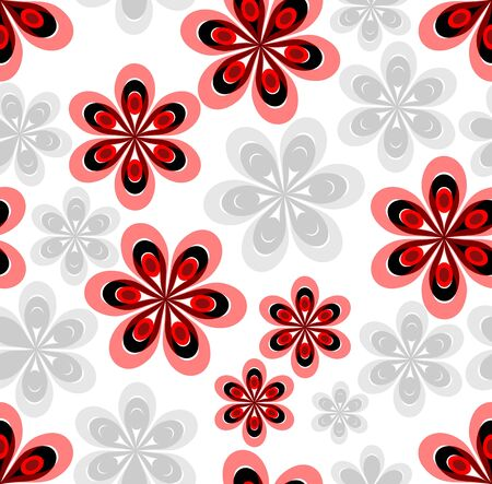 Seamless abstract background with red and gray flower patterns on white area Vector