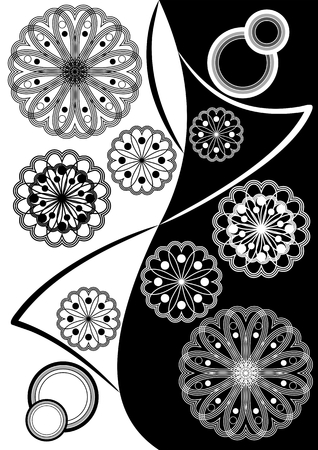 inverse: Fine black white inverse composition with geometric stars and patterns
