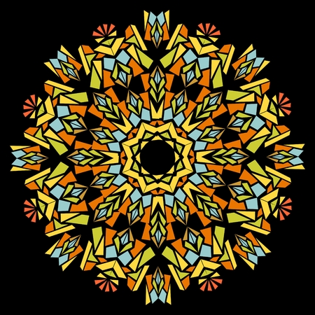 shards: Kaleidoscope star composed of colorful shards on the black area