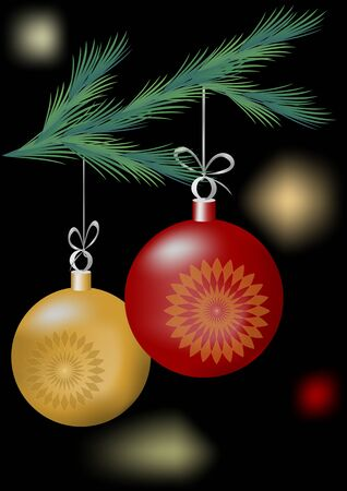christmas motif: Christmas motif with two balls on the green branch on the dark area with lights
