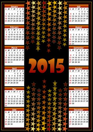 contrasting: Calendar 2015 with contrasting star background
