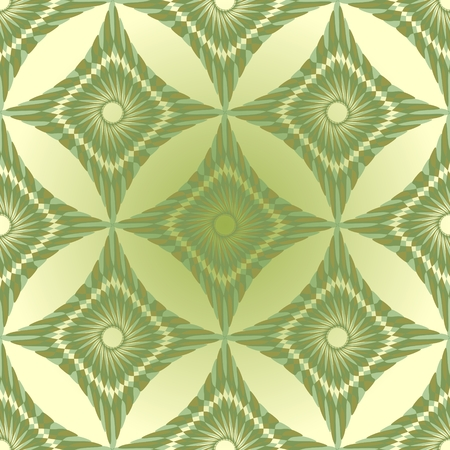 Seamless green abstract vintage background with rhomboid patterns Vector