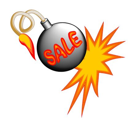 bomb price: Sale billboard with exploding bomb on the white background Illustration