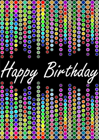 Happy birthday billboard with colorful lights in rainbow design Vector