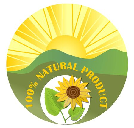 Contrasting label for natural product with sun, green landscape and sunflower